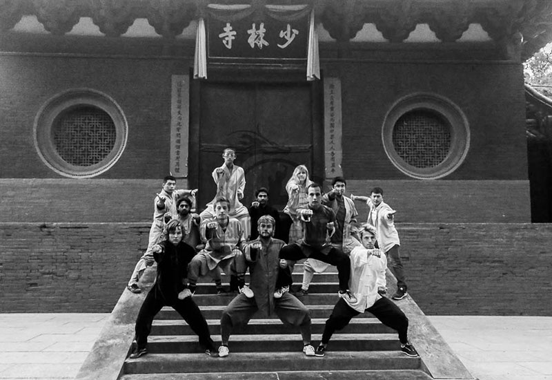 Kung Fu Students posing Shaolin Temple