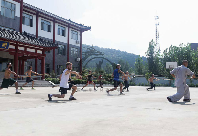 Shaolin Kung Fu Group Staff Training
