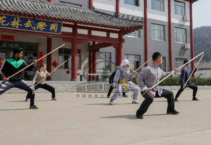 Shaolin Kung Fu Group Staff Training in China