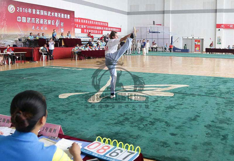 girl performing in chinese kung fu Competition