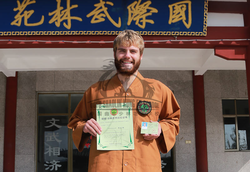 Certificate Shaolin international grading