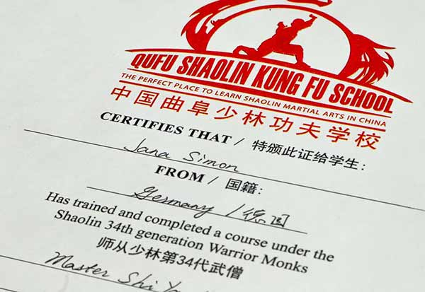 Certificates of Kung Fu grading