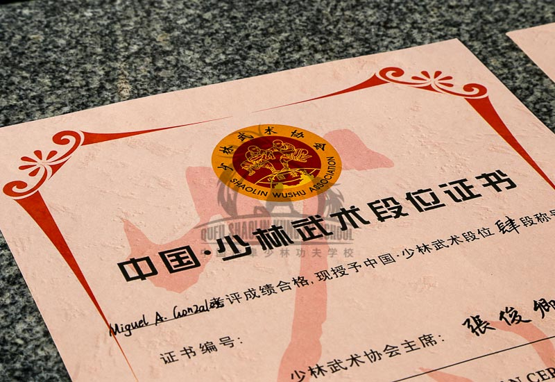 Shaolin Wushu Association certificate
